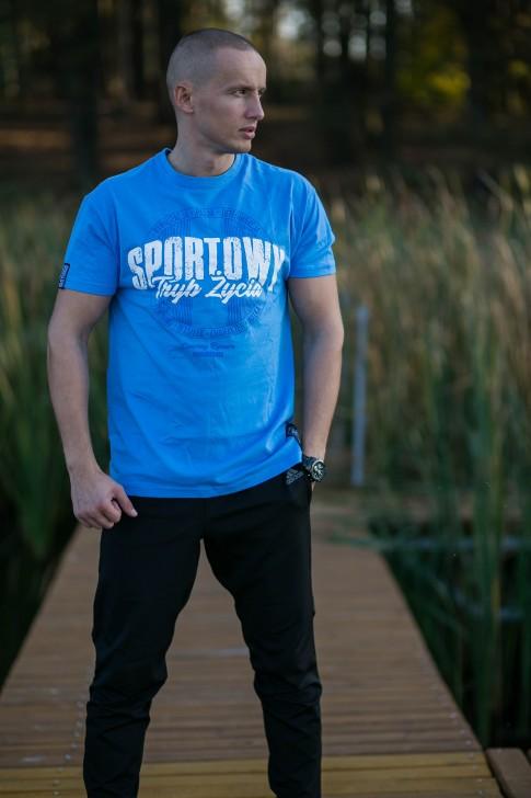 Koszulka Sportowy Tryb Życia Niebieska