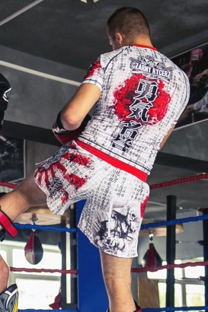 Spodenki Kickboxing Samuraj White