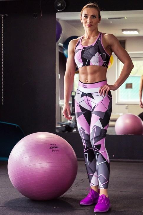 Leginsy Damskie Abstract Pink
