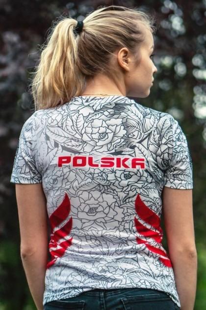 Koszulka Sportowa Damska Polska Biała