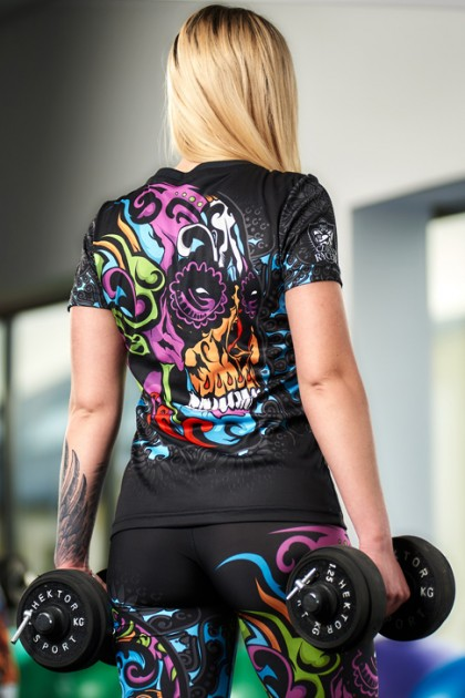 Koszulka Sportowa Damska Mexican Skull
