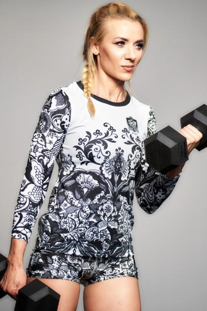 Koszulka Sportowa Damska Black & White Long
